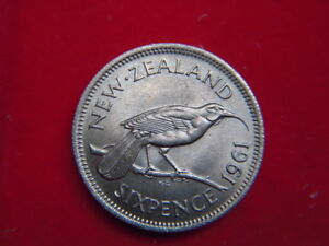1961 ELIZABETH 11 UNCIRCULATED SIXPENCE FROM NEW ZEALAND [JJ91]