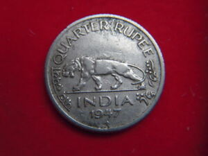 1947 GEORGE V1 QUARTER RUPEE COIN FROM INDIA  FROM MY COLLECTION [NN38]