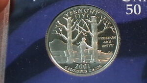 2001 S VERMONT PROOF STATE QUARTER BEAUTIFUL CAMEO 272B7