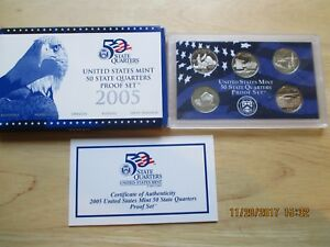 2005 S UNITED STATES MINT PROOF SET 50 STATE QUARTERS WITH COA
