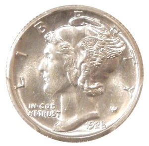 1928 S 10C PCGS MS 64   WHITE MERCURY DIME WITH NEAR FULL BANDS