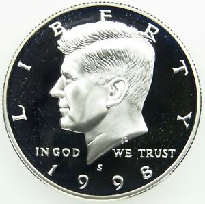 1998 S 90  SILVER DEEP CAMEO PROOF KENNEDY HALF DOLLAR  B05