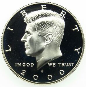2000 S DEEP CAMEO CLAD PROOF KENNEDY HALF DOLLAR  B03