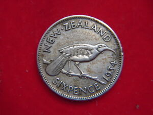 1934 GEORGE V SIXPENCE FROM NEW ZEALAND [FILLER] [OO70]