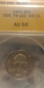 Click now to see the BUY IT NOW Price! 1943 DDO FS 103 DIE 11 WASHINGTON QUARTER ANACS AU 55  SUPER
