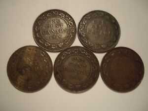 CANADA GEORGE V 1918 LARGE CENTS   LOTS OF 5 COINS