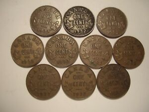 CANADA GEORGE V 1932 SMALL CENTS   LOT OF 10 COINS