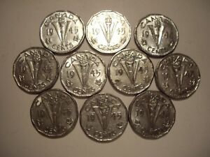 CANADA GEORGE VI 1945 VICTORY FIVE CENTS   LOT OF 10 COINS