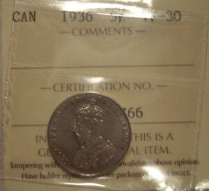 CANADA GEORGE V 1936 FIVE CENTS   ICCS VF 30