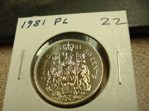 PROOF LIKE   1981   CANADIAN HALF   BRILLIANT UNCIRCULATED   CANADA 50 CENTS