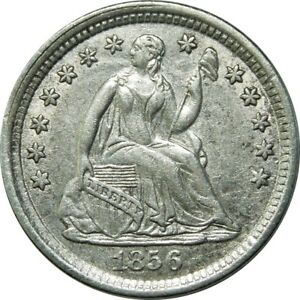 1856 H10C SEATED LIBERTY SILVER HALF DIME HIGH GRADE  OLD TYPE COIN CS43