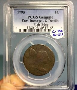 1795 LARGE CENT PCGS G DETAILS ENV DAMAGE PLAIN EDGE