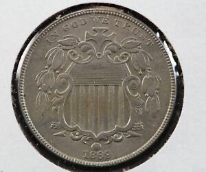 1869 SHIELD NICKEL REPUNCHED DATE MINT ERROR