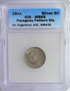 Click now to see the BUY IT NOW Price!  PARAGUAY 18XX 5 CENTS ON ARGENTINA 10C  PATTERN DIE  ICG MS65