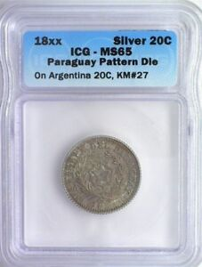 Click now to see the BUY IT NOW Price!  PARAGUAY 18XX 20 CENTS ON ARGENTINA 20C  PATTERN DIE  ICG MS65