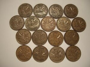 A CANADA GEORGE VI SMALL CENTS FROM 1937   1952   LOT OF  17 COINS