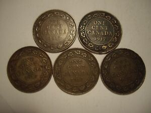 CANADA GEORGE V 1917 LARGE CENTS   LOTS OF 5 COINS