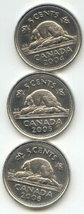 CANADA 2004 2005 & 2006 CANADIAN NICKELS 5C FIVE CENTS EXACT SET SHOWN