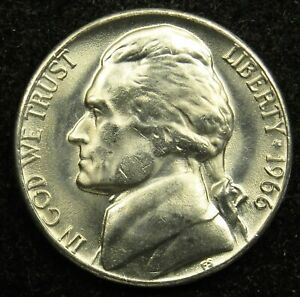 1966 UNCIRCULATED JEFFERSON NICKEL BU  B05