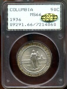 1936 COLUMBIA PCGS MS66 RATTLER GOLD CAC  COMMEMORATIVE