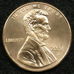 2002 D UNCIRCULATED LINCOLN MEMORIAL CENT PENNY BU  B02