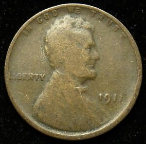 1911 LINCOLN WHEAT CENT PENNY G GOOD  B02