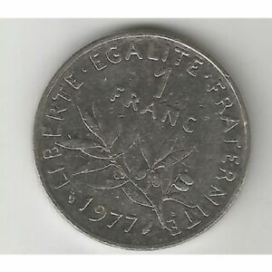 FRANCE 1977 ONE FRANC COIN; GOOD CIRCULATED
