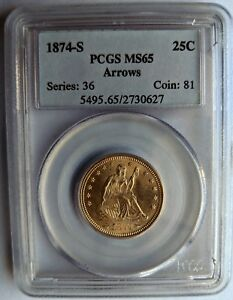 Click now to see the BUY IT NOW Price! 1874 S 25C PCGS MS65 ARROWS.  COIN