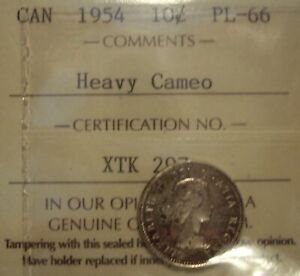 Click now to see the BUY IT NOW Price! CANADA ELIZABETH II 1954 SILVER TEN CENTS   ICCS PL 66 HEAVY CAMEO  XTK 297