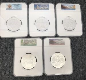 Click now to see the BUY IT NOW Price! 2011 P 5OZ SILVER 25C ATB EARLY RELEASE SP70 NGC  ALL 5 COINS