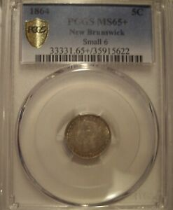 Click now to see the BUY IT NOW Price! CANADA NEW BRUNSWICK 1864 SM 6 SILVER 5 CENT   PCGS MS 65