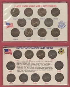 2  COMPLETE SETS OF 1942 1945 SILVER WAR NICKELS IN HOLDERS