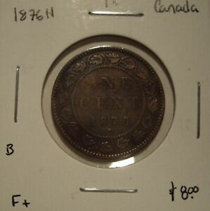 B CANADA VICTORIA 1876H LARGE CENT   F