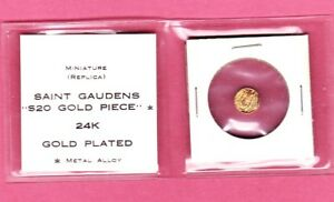 VINTAGE MINIATURE SAINT GAUDENS 24 K GOLD PLATED COIN