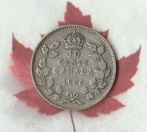 1936 CANADIAN 10 CENT PIECES  80  SILVER  NICE SILVER COIN