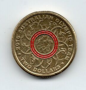 2016 AUSTRALIA CIRCULATED $2  COLOURED   OLYMPIC TEAM  RED.