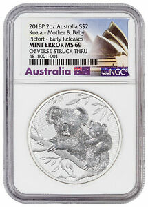 Click now to see the BUY IT NOW Price! 2018 AUSTRALIA SILVER $2   KOALA   MOTHER & BABY   MINT ERROR MS69 ER   NGC COIN