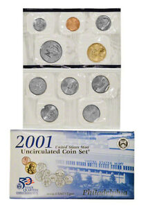 2001 US MINT SET PHILADELPHIA 10 BU COINS ORIGINAL MINT PACKAGING LOTMS1514