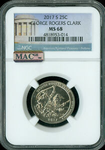 Click now to see the BUY IT NOW Price! 2017 S GEORGE ROGERS CLARK QUARTER NGC MAC MS68 PQ POP 2 FINEST SPOTLESS  .