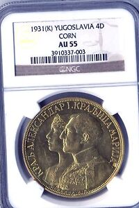 Click now to see the BUY IT NOW Price! 1931  K  ALEXANDER I GOLD 4 DUKATA CORN    AU55 BY  NGC   KM14.2   YUGOSLAVIA