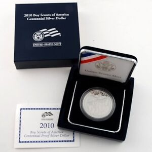 2010 BOY SCOUTS OF AMERICA CENTENNIAL PROOF SILVER DOLLAR   BOX & COA