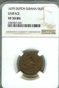 Click now to see the BUY IT NOW Price! VERY  DUTCH GUIANA 1679 4 DUIT 1/2 STUIVER NGC VF30 KM8 CATALOG PRICE $1200