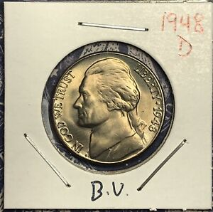 1948 D JEFFERSON NICKEL BU.  COLLECTOR COIN FOR YOUR SET OR COLLECTION.