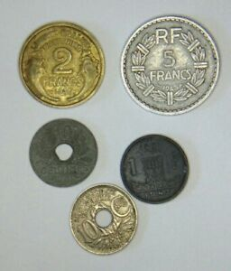 LOT OF 4 FRANCE 1918 1932 1941 1945 COINS & 1 BELGIUM COIN 1943