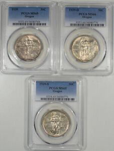 1939 P D S OREGON COMMEMORATIVE HALF DOLLAR SET PCGS MS 65 66 & 65