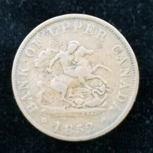 BANK OF UPPER CANADA HALF PENNY TOKEN 1852 ST. GEORGE & THE DRAGON