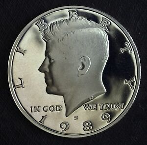 1989 S GEM PROOF CLAD KENNEDY HALF DOLLAR  DEEP MIRRORS  NICE DETAILS