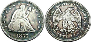 1875 S TWENTY CENT PIECE VF