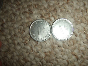 LOT OF 2 VINTAGE ROYAL FARMS 1 CENT FOR FOOD STAMP ITEMS ONLY TOKEN COIN