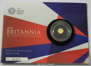2015 24K GOLD PROOF BRITANNIA 1/40TH OUNCE 50P COIN LOW ISSUE NUMBER 0057